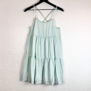 Xhilaration Night Dress Plaid Gingham Mint Green S